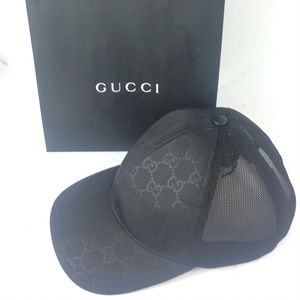 Gucci #510950 Black Nylon Unisex Baseball Cap